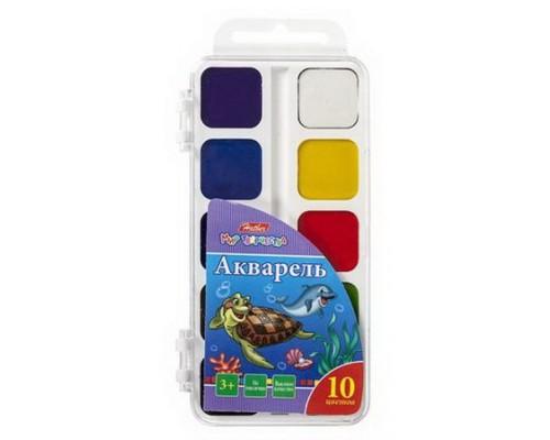 Краски акварельные 10 цветов медовая Hatber Дельфины (без кисти)