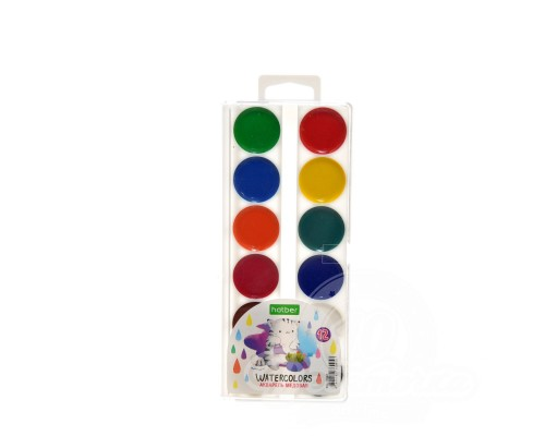 """Краски акварельные 12 цветов медовые полусухие """"ECO"""" Приключения кота Пирожка, без кисти, пластиковая упаковка"""